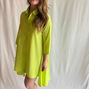 Lime green high-low shirt dress with pockets